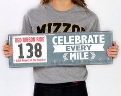 Race bib holder  - Celebrate Every Mile Inspirational Medal Display - Race Medal Holder