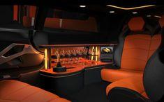 interier of orange Lamborghini Limo