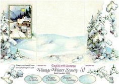Vintage Winter Scenery 1  on Craftsuprint designed by Bodil Lundahl - Gatefold with overlayed, decoupaged gate doors.  - Now available for download!
