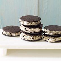 Mini Mint Cookies and Cream Ice Cream Sandwiches