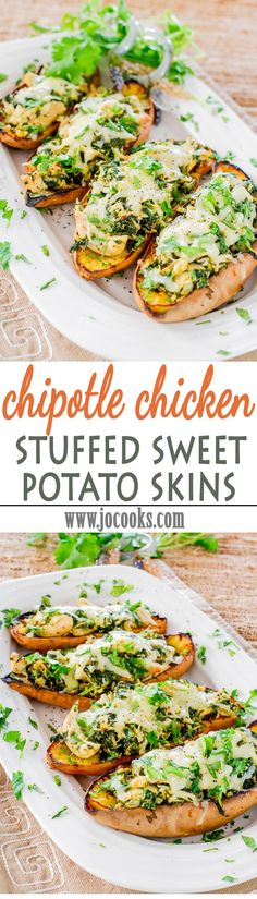Pretty darn delicious chipotle chicken stuffed sweet potato skins! They're sweet and spicy, filled with a delicious chicken and spinach filling and oh so cheesy!