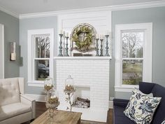 White Brick Fireplace #WhiteBrick #Fireplace Via HGTV.