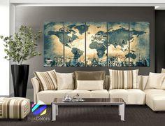 XLARGE 30x 70 5 Panels Art Canvas Print Original by BoxColors