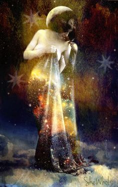 Night and Her Train of Stars - 8x10 Signed and Matted Print by SheWhoIsArt on Etsy