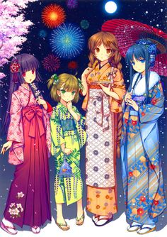 Yukata...Anime...Girls...Friends...Color...Hanabi...Summer...