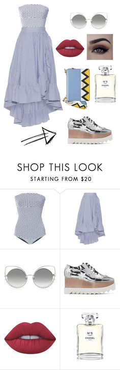 """""""😻😻😻"""" by fashiondam ❤ liked on Polyvore featuring ONIA, Maje, Marc Jacobs, STELLA McCARTNEY, Lime Crime, Chanel and Prada"""
