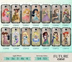 Disney Princess Samsung Galaxy S4 Case Disneyland Cute Princess Case Samsung Galaxy Case Samsung S3 S4 Case Hard or Soft Case-CDP14 on Etsy, $7.99. I have to have one!!!!