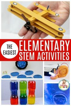 Make STEM activities fun with these easy STEM activities for elementary! These STEM activities are perfect for kids in elementary school and teach the basics of science, technology, engineering, and math in a fun and easy way! Elementary Science Experiments, Elementary Science Classroom, Stem Science, Elementary Schools, Elementary Education Activities, Kindergarten Stem, Gifted Education, Classroom Games, Education Quotes