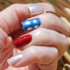 Wizard of Oz mani - could switch it up for Tardis, or do stripes instead of gingham for 4th of July