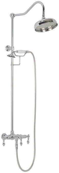 Features:  -Wall mount exposed shower faucet with handshower.  -Hot and cold porcelain lever handles.  -0.5'' IPS inlets.  -Shower head included: No.  -Compatible valve part number: R10000UNBX.  Showe