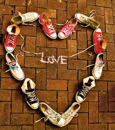 shoe heart. might be cute to take a pic of all the kids' shoes like this and turn it into a valentine card for the grandparents.