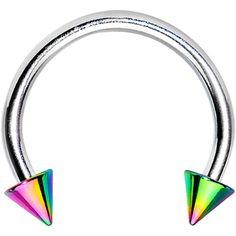 16 Gauge Rainbow Spike Horseshoe Circular Barbell 3/8 #bodycandy #piercing #trending $2.99