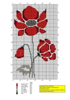 Coquelicots (Poppies), designed by Corinne Thulmeaux, Passion Broderie 77 blogger.