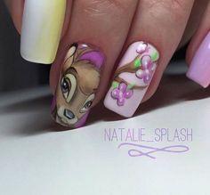Маникюр. Дизайн ногтей. Art Simple Nail Disney Acrylic Nails, Disney Nails, Nail Art Hacks, Gel Nail Art, Frozen Nails, Nails Studio, Nail Drawing, Art Simple, Animal Nail Art