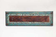 Turquoise Ranch Hat Rack- Rustic -Wood-Mexican-Western-Cowboy-Coat Rack-Cowhide-Leather-Tooled-26x8x5