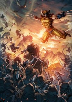 Wolverine vs The Hand - Ong Ean Keaton - Universo Marvel Comic Book Characters, Comic Book Heroes, Marvel Characters, Comic Character, Comic Books Art, Comic Art, Arte Dc Comics, Marvel Comics Art, Marvel Heroes