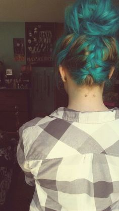 Brown and Turqouise / Aqua hair Braided Up Do --- Neck Piercing