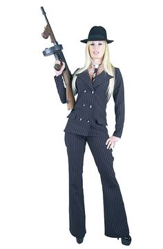 charades gangster lady adult costume plus size charadesllc suit - Female Gangster Halloween Costumes
