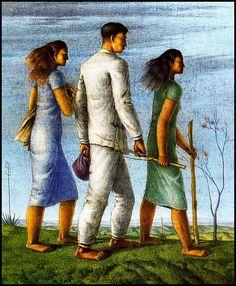 Tres figuras en marcha - Pintura de Hèctor Poleo - 1943
