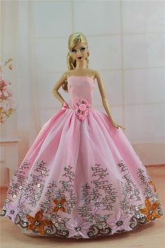 Pink Fashion Princess Party Dress Evening Clothes Gown for Barbie Doll S317 | eBay