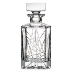 Featuring bold, modern cuts and fine European craftsmanship, the Top Shelf Graffiti Whiskey Decanter brings sophisticated style to your barware. This sparkling fine crystal decanter radiates beauty you will want to enjoy every day. Wine Sale, Whiskey Decanter, Crystal Decanter, Graffiti, Perfume Bottles, Liquor Bottles, Shelf, Cary Grant, Channel