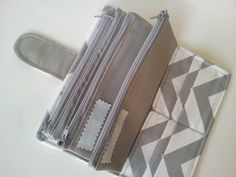 Cash Envelope Wallet, Cash Budget, All-in-One Bi-fold Wallet with zipper closures--Chevron Grey- for use with the Dave Ramsey System