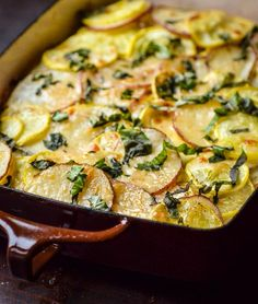 Simple Recipe:  Potato, Squash & Goat Cheese Gratin    Recipes from The Kitchn - A very easy gratin to make.