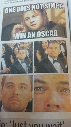 We all were hoping that this time Leo will get his award he is waiting for ages, Thank God this time Leonardo Dicaprio got his golden prize along with some Hilarious memes, some of them are listed here Funny Memes Images, Funny Minion Memes, Funny Pictures, Leonardo Dicaprio Meme, Oscar Leonardo, Titanic Movie Facts, Chuck Norris Memes, Movie Memes, Hilarious