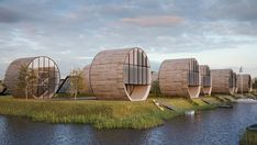 Lithuania-based architecture studio Do Architects developed a futuristic housing concept dubbed the 'rolling homes'. Proposed to be located near the Baltic Sea in Svencele, Lithuania,. Concept Architecture, Futuristic Architecture, Interior Architecture, Glamping, Circular Buildings, Round Building, Green Building, Architects Journal, One Step Beyond