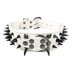 "2inch Wide Cool Sharp Spiked Studded Leather Dog Collar (15-24"" For Medium to Large Breeds) 4 Sizes"