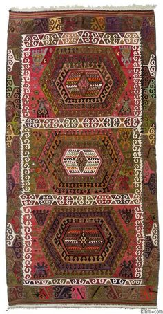 Vintage Turkish kilim rug hand-woven in mid-century in Sivrihisar located in Central Anatolia.