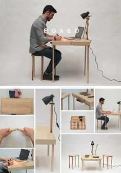 Wooden Briefcase Unfolds into Table, 2 Stools and a Lamp  Read more: http://dornob.com/amazing-briefcase-unfolds-into-desk-two-stools-and-a-lamp/#ixzz2gY6o3kCf