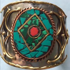"""Handcrafted Hammered Silver Cuff Bracelet!!! This is a Very Special Piece!! 2 1/2"""" wide Silver and Copper Cuff Bracelet 7"""" side to side. Interesting face done in red,green and black set with copper Handcrafted Jewelry Bracelets"""