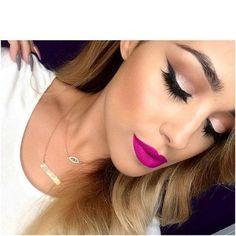 Love this bright purple color! Flawless Makeup, Gorgeous Makeup, Beauty Makeup, Perfect Makeup, Hot Pink Lipsticks, Natural Blush, Pink Lip Gloss, Makeup Tattoos, Makeup Guide