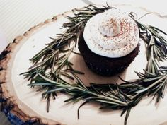 cupcakes with rosemary - woodland baby shower