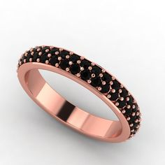 14k Rose Gold Black Diamond Eternity Band Jewelry