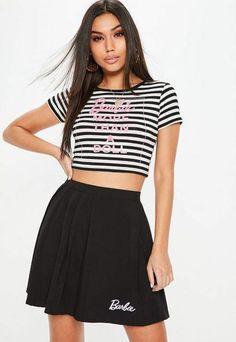 2a65cf238d8a6 Missguided Barbie x Tall Black  amp  White Striped Crop Top Striped Crop Top