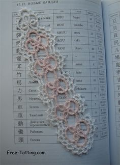 """© If you use the pattern, you should refer to this site. Copy this link to your site: """"Free-tatting patterns"""" Lacy bookmarks are very beautiful. Tatting Bracelet, Tatting Jewelry, Tatting Lace, Lace Patterns, Crochet Patterns, Needle Tatting Patterns, Tatting Tutorial, Crochet Bookmarks, Lace Making"""