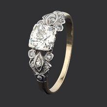 14ct white gold & yellow gold diamond Art Deco diamond ring