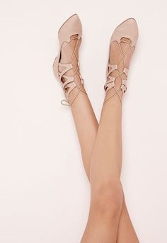 Lace Up Pointed Flats Nude Wedding Guest Shoes 25800afe5c4