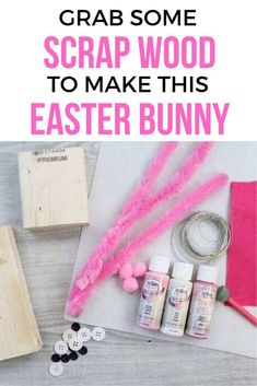 This super easy and cute Easter bunny project is perfect for preschool kids. All you need is some dollar store items and wood scraps you can easily personalize. Thrift Store Art, Fabric Book Covers, Cute Easter Bunny, Adorable Bunnies, Rainy Day Crafts, Wood Scraps, Bunny Crafts, Easter Crafts, Kids Crafts