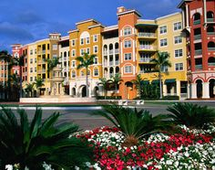 Multicolored houses line a street in Naples, Florida.
