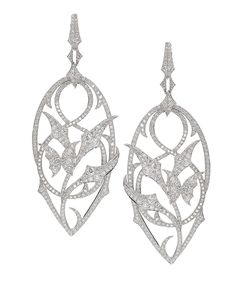 Stephen Webster 18-carat White Gold and White Diamond Fly By Night Earrings.