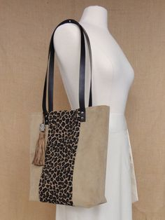 the Laura tote  leopard and beige by JodyByrdDesign on Etsy, $85.00