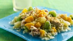 Tropical Fruit, Rice and Tuna Salad Same old tuna salad- No! Tuna partners with brown rice and three fruits that get dressed-up with creamy yogurt. Seafood Lasagna Recipes, Risotto Recipes, Salad Recipes, Healthy Recipes, Tuna Recipes, Gf Recipes, Easy Recipes, Seafood Appetizers, Seafood Salad