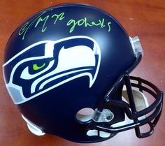 "Christine Michael Autographed Seattle Seahawks Full Size Helmet """"Go Hawks"""" In Green MCS Holo"