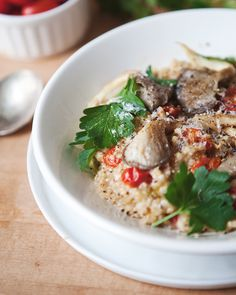 Savory Oatmeal with roasted tomatoes, Oyster mushrooms, Parmesan - superfood dish