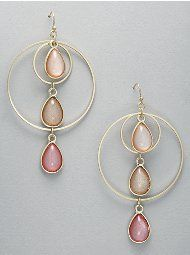Rings and Beads Triple-Drop Hoops
