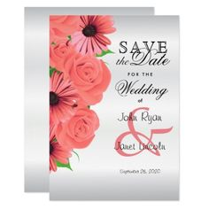 Beautiful Coral Rose & Daisy - Save The Date Card - invitations custom unique diy personalize occasions