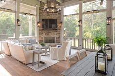 Back Porch Fireplace . Back Porch Fireplace . 90 Cozy Farmhouse Screened In Porch Design Ideas Screened Porch Designs, Screened In Porch, Porch Roof, Screened Porch Furniture, Front Porch Seating, Covered Back Porches, Porch Windows, Sunroom Furniture, Enclosed Porches